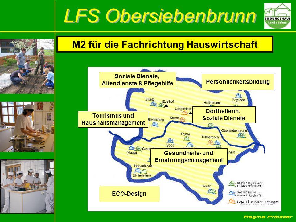 M2 für die Fachrichtung Hauswirtschaft Soziale Dienste, Altendienste & Pflegehilfe Persönlichkeitsbildung Tourismus und Haushaltsmanagement ECO-Design Gesundheits- und Ernährungsmanagement Dorfhelferin, Soziale Dienste