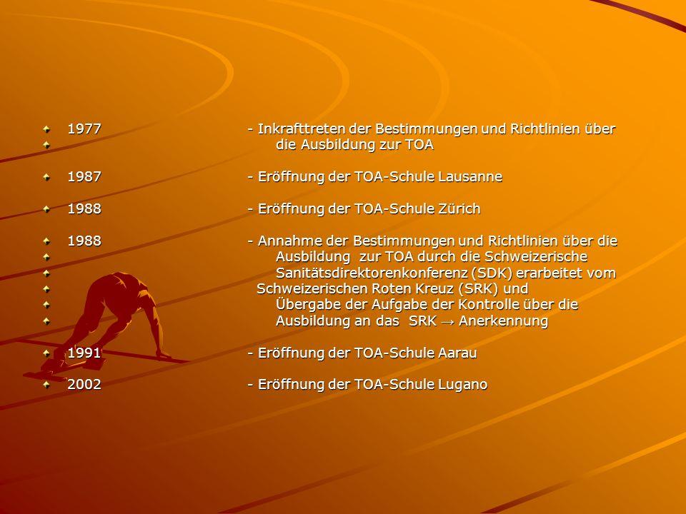 1977- Inkrafttreten der Bestimmungen und Richtlinien über die Ausbildung zur TOA die Ausbildung zur TOA 1987- Eröffnung der TOA-Schule Lausanne 1988- Eröffnung der TOA-Schule Zürich 1988- Annahme der Bestimmungen und Richtlinien über die Ausbildung zur TOA durch die Schweizerische Ausbildung zur TOA durch die Schweizerische Sanitätsdirektorenkonferenz (SDK) erarbeitet vom Sanitätsdirektorenkonferenz (SDK) erarbeitet vom Schweizerischen Roten Kreuz (SRK) und Schweizerischen Roten Kreuz (SRK) und Übergabe der Aufgabe der Kontrolle über die Übergabe der Aufgabe der Kontrolle über die Ausbildung an das SRK Anerkennung Ausbildung an das SRK Anerkennung 1991- Eröffnung der TOA-Schule Aarau 2002- Eröffnung der TOA-Schule Lugano