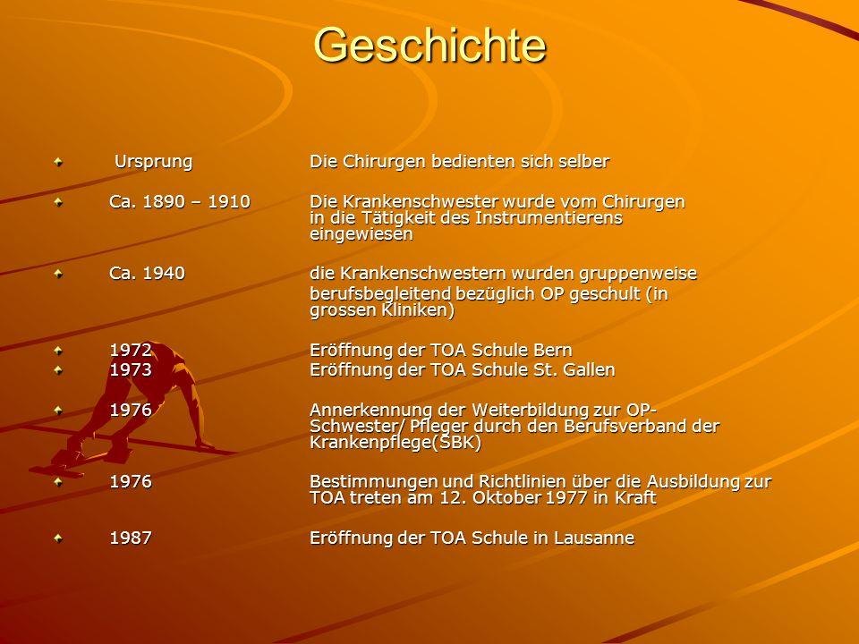 Geschichte 1988Eröffnung der TOA Schule in Zürich 1988Annahme der Bestimmungen und Richtlinien über die Ausbildung zur TOA, SRK-Annerkennung 1991Eröffnung der TOA Schule Aarau 1996Eröffnung der TOA Schule Freiburg 2002 Eröffnung der TOA Schule Lugano 2004 Schliessung der TOA Schule in Freiburg 2006 – 2009Vernehmlassung Rahmenlehrplan Operationstechnik (OT)und Positionierung auf Stufe Höhere Fachschule (HF)