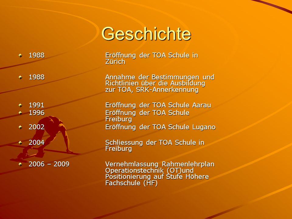 Geschichte 1988Eröffnung der TOA Schule in Zürich 1988Annahme der Bestimmungen und Richtlinien über die Ausbildung zur TOA, SRK-Annerkennung 1991Eröff