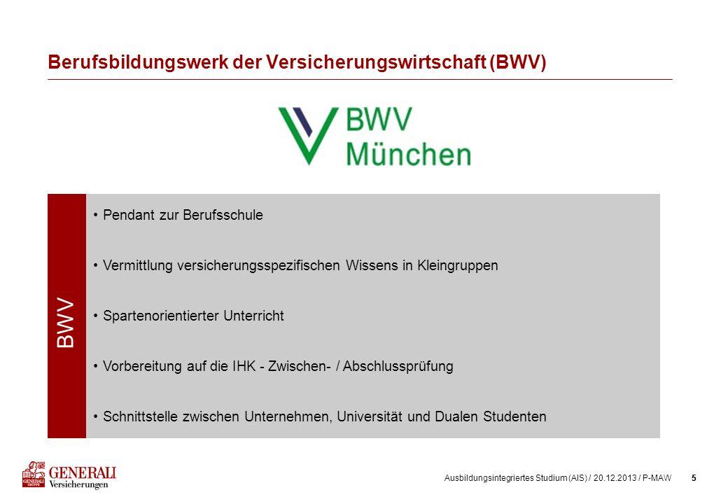 5Ausbildungsintegriertes Studium (AIS) / 20.12.2013 / P-MAW5 Berufsbildungswerk der Versicherungswirtschaft (BWV) BWV Pendant zur Berufsschule Vermitt