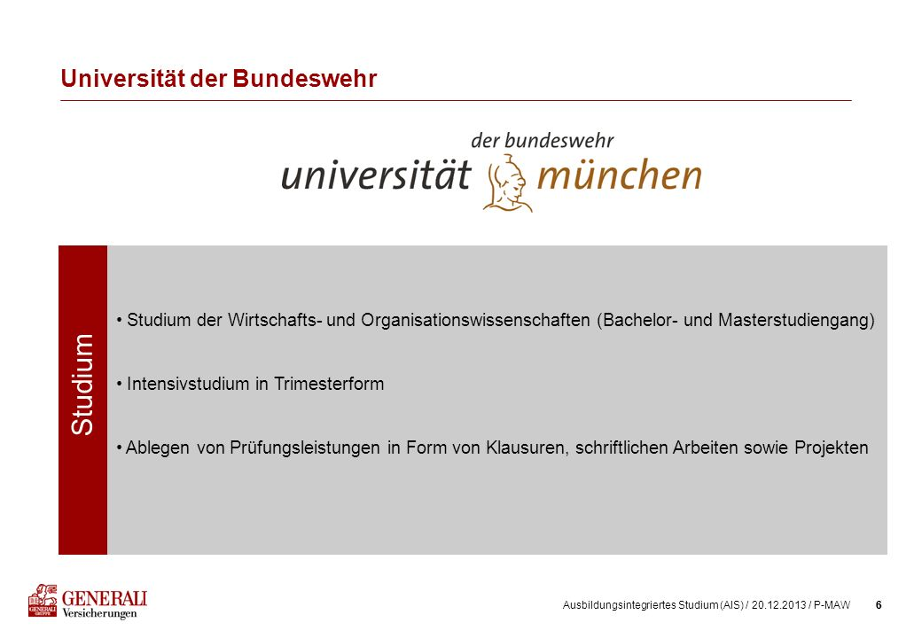 6Ausbildungsintegriertes Studium (AIS) / 20.12.2013 / P-MAW6 Universität der Bundeswehr Studium Studium der Wirtschafts- und Organisationswissenschaft
