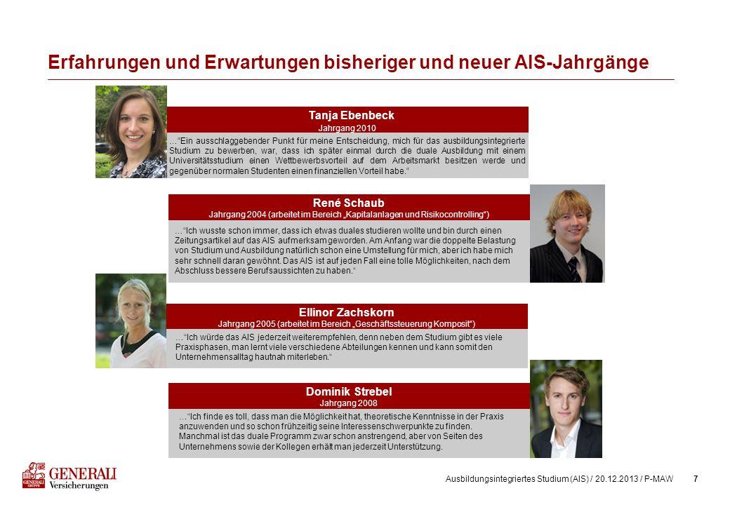 7Ausbildungsintegriertes Studium (AIS) / 20.12.2013 / P-MAW Erfahrungen und Erwartungen bisheriger und neuer AIS-Jahrgänge Tanja Ebenbeck Jahrgang 201