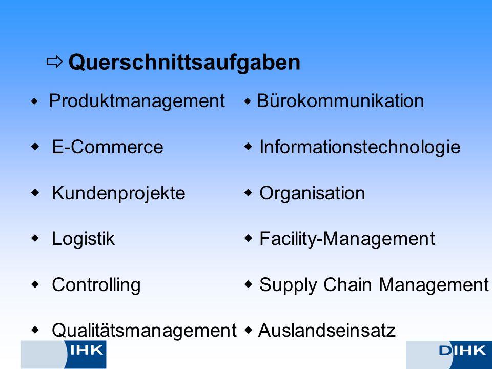 Querschnittsaufgaben Produktmanagement E-Commerce Kundenprojekte Logistik Controlling Qualitätsmanagement Bürokommunikation Informationstechnologie Or