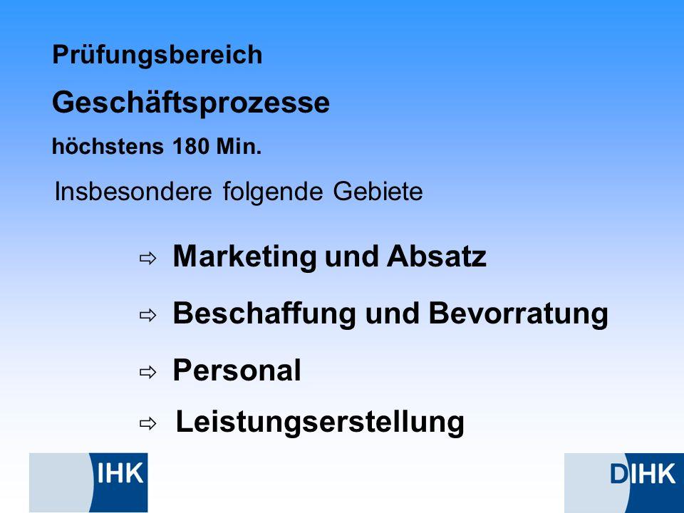 Prüfungsbereich Insbesondere folgende Gebiete Beschaffung und Bevorratung Personal Leistungserstellung Marketing und Absatz Geschäftsprozesse höchsten