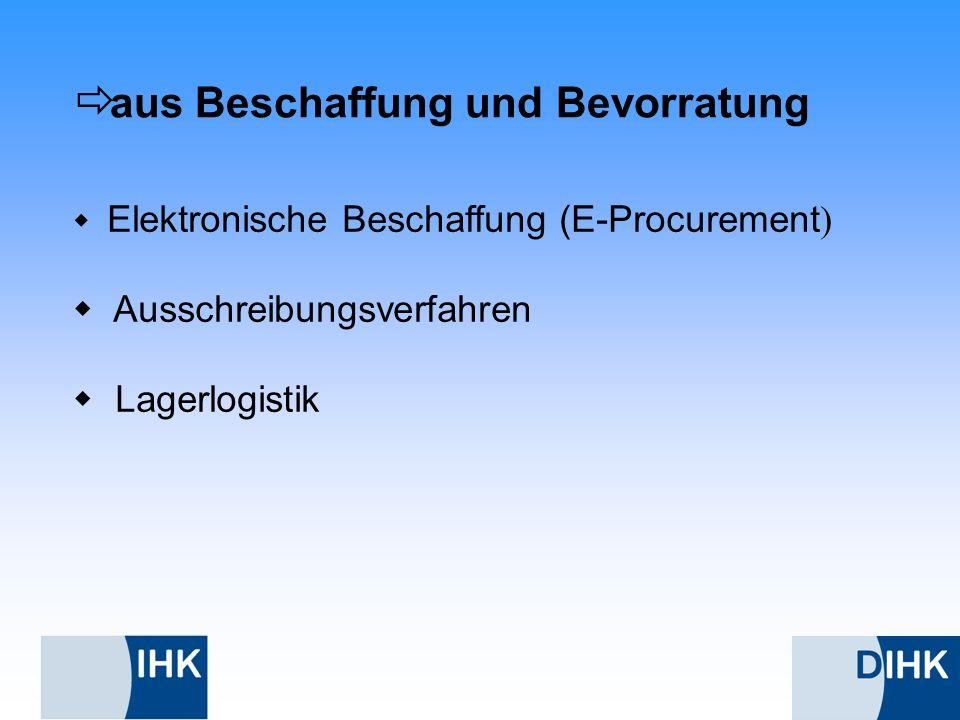 aus Beschaffung und Bevorratung Elektronische Beschaffung (E-Procurement ) Ausschreibungsverfahren Lagerlogistik