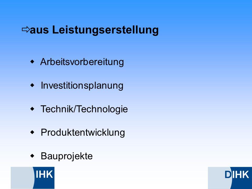 aus Leistungserstellung Arbeitsvorbereitung Investitionsplanung Technik/Technologie Produktentwicklung Bauprojekte