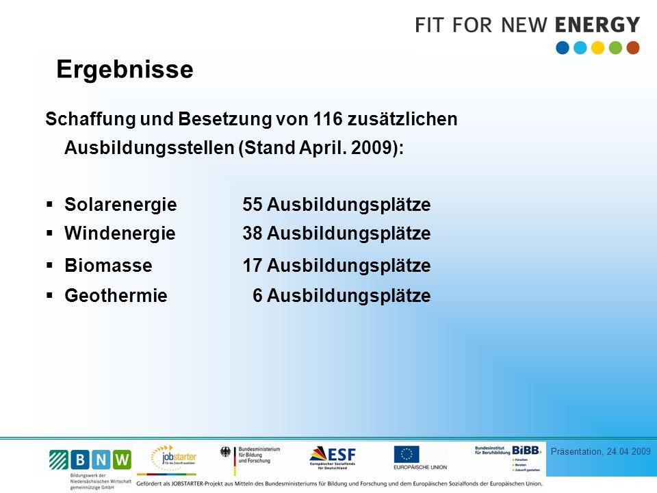 Präsentation, 24.04 2009 Schaffung und Besetzung von 116 zusätzlichen Ausbildungsstellen (Stand April.