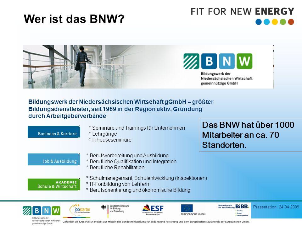 Präsentation, 24.04 2009 Wer ist das BNW.