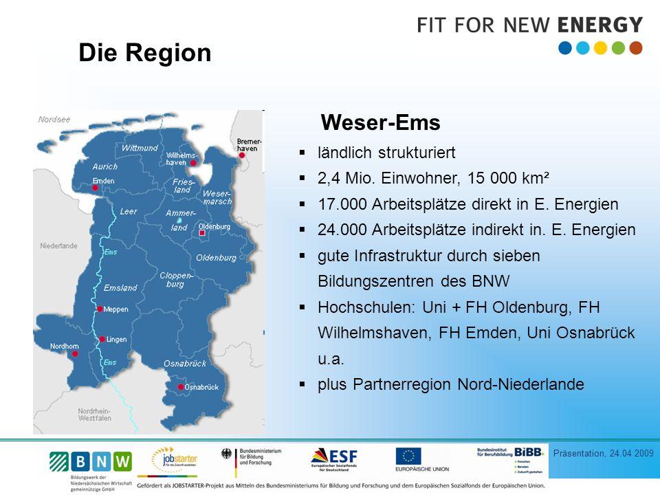 Präsentation, 24.04 2009 Die Region Weser-Ems ländlich strukturiert 2,4 Mio.