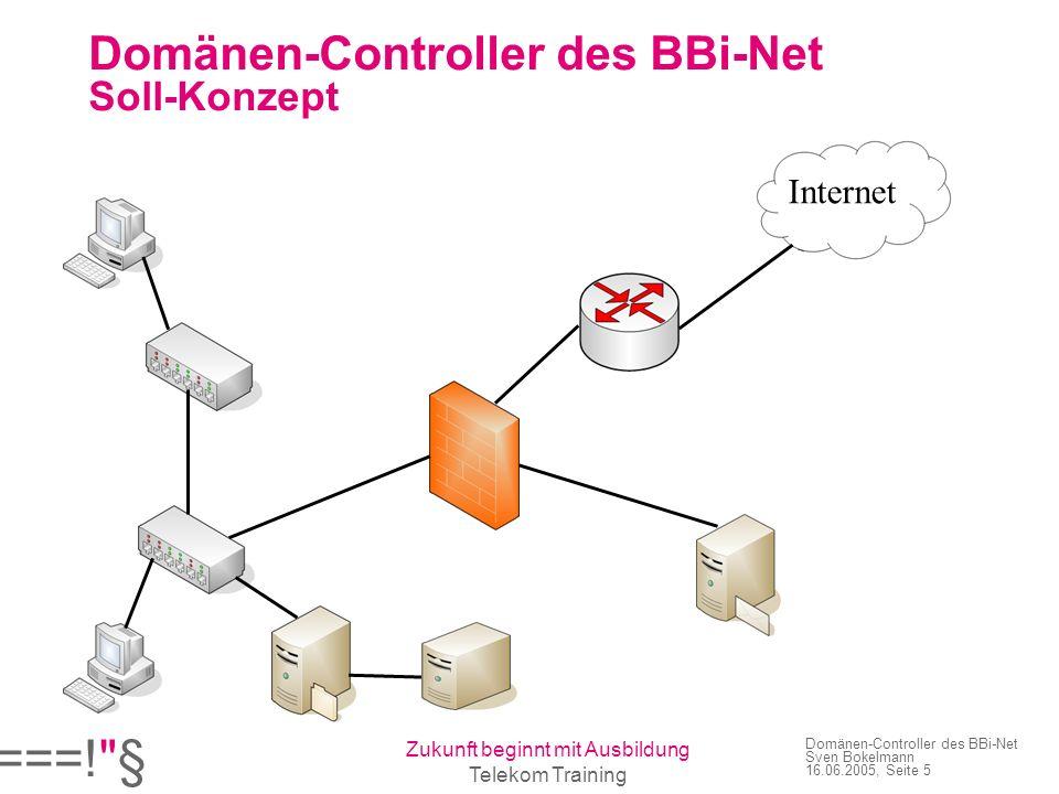 ===! § Zukunft beginnt mit Ausbildung Telekom Training Domänen-Controller des BBi-Net Sven Bokelmann 16.06.2005, Seite 5 Domänen-Controller des BBi-Net Soll-Konzept Internet