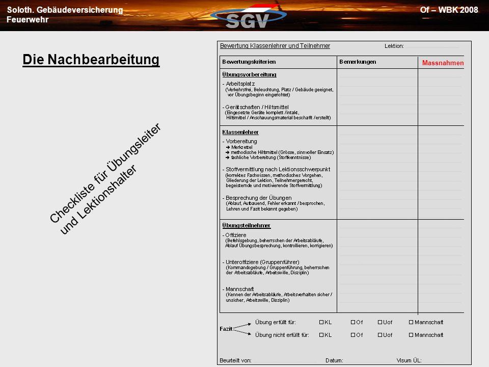 Soloth. Gebäudeversicherung Feuerwehr Of – WBK 2008 Die Nachbearbeitung Checkliste für Übungsleiter und Lektionshalter Massnahmen
