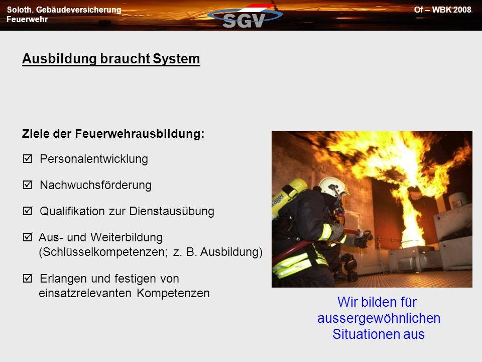 Soloth. Gebäudeversicherung Feuerwehr Of – WBK 2008 Ziele der Feuerwehrausbildung: Personalentwicklung Nachwuchsförderung Qualifikation zur Dienstausü
