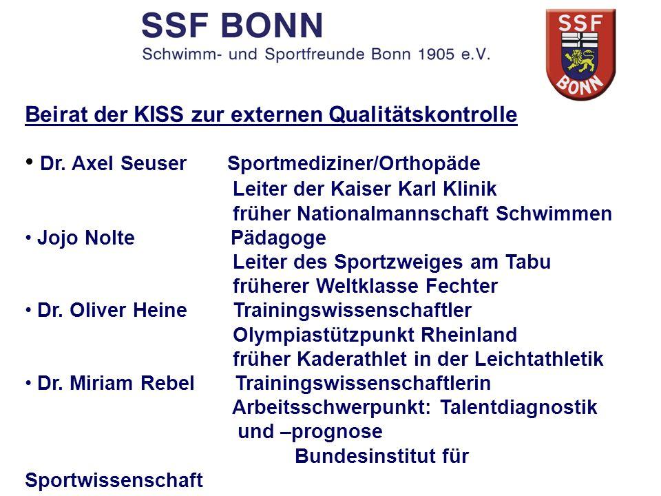 Beirat der KISS zur externen Qualitätskontrolle Dr. Axel Seuser Sportmediziner/Orthopäde Leiter der Kaiser Karl Klinik früher Nationalmannschaft Schwi