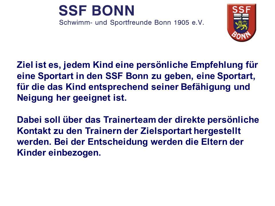 Ziel ist es, jedem Kind eine persönliche Empfehlung für eine Sportart in den SSF Bonn zu geben, eine Sportart, für die das Kind entsprechend seiner Be