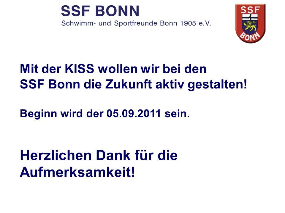 Mit der KISS wollen wir bei den SSF Bonn die Zukunft aktiv gestalten! Beginn wird der 05.09.2011 sein. Herzlichen Dank für die Aufmerksamkeit!