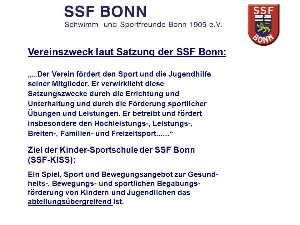 Vereinszweck laut Satzung der SSF Bonn:... Der Verein fördert den Sport und die Jugendhilfe seiner Mitglieder. Er verwirklicht diese Satzungszwecke du