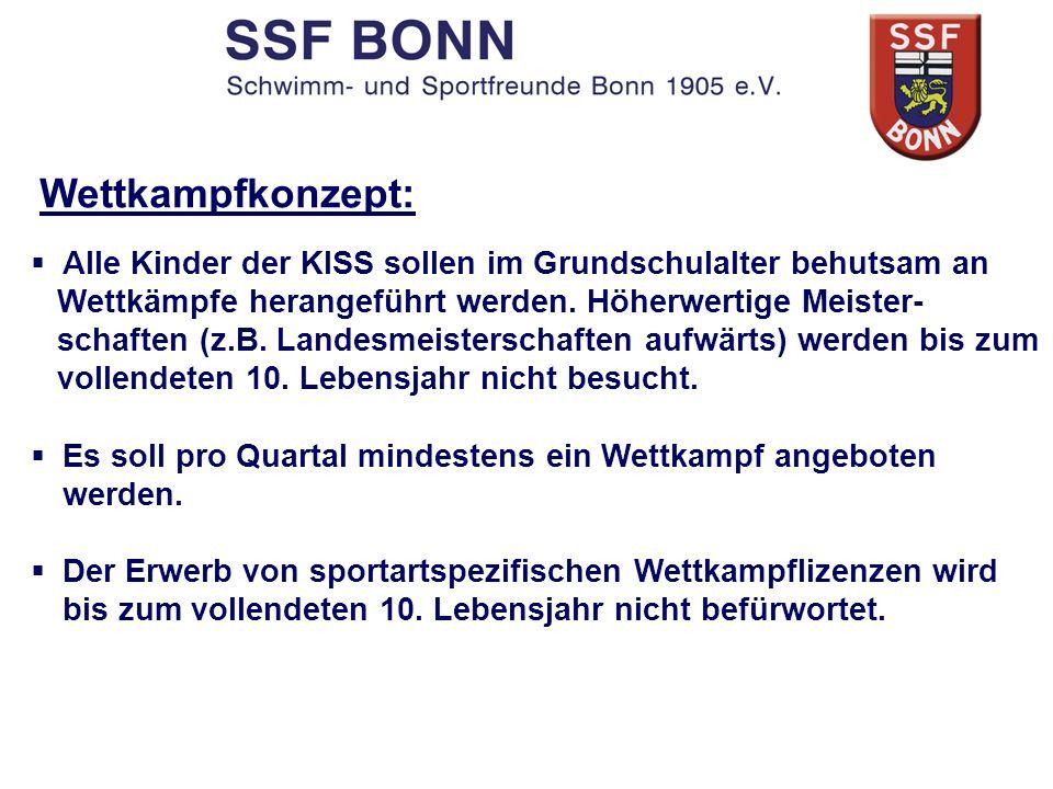 Wettkampfkonzept: Alle Kinder der KISS sollen im Grundschulalter behutsam an Wettkämpfe herangeführt werden. Höherwertige Meister- schaften (z.B. Land