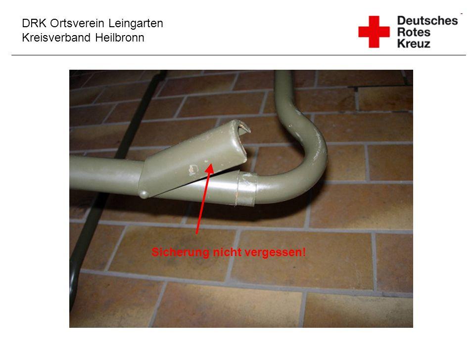 DRK Ortsverein Leingarten Kreisverband Heilbronn Sicherung nicht vergessen!