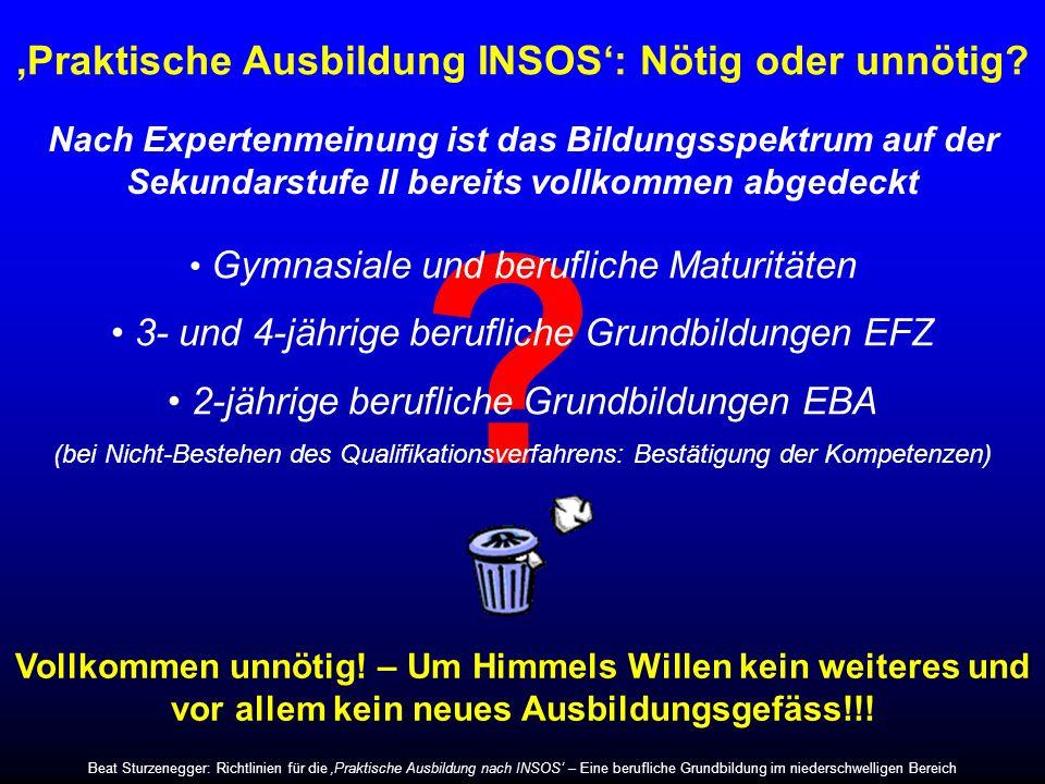 Das neue Bildungssystem in der Schweiz Eidgenössisches Berufsattest (2 Jahre) Kein Angebot für Lernschwächere in sozialen Bildungsinstitutionen!!.