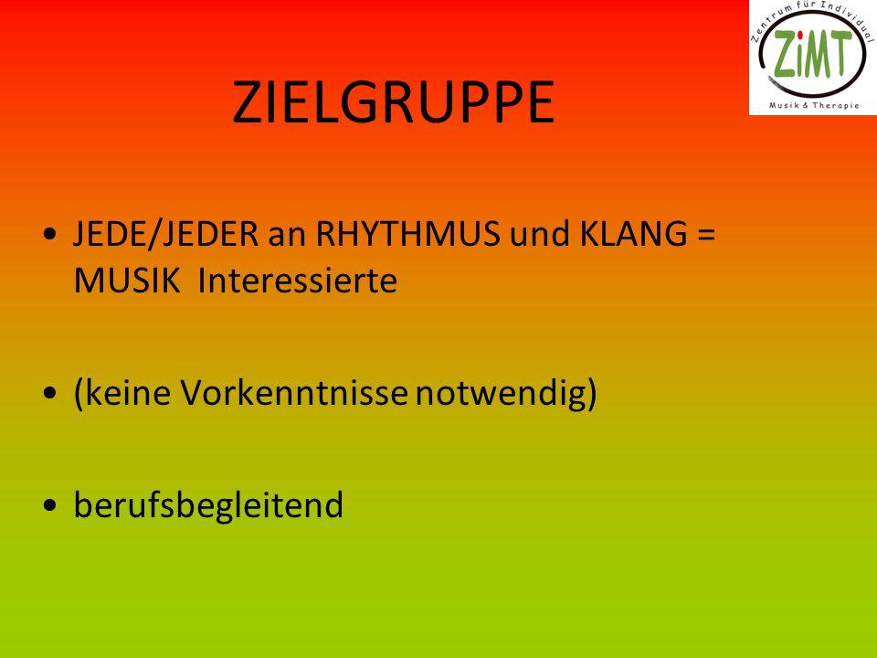 ZIELGRUPPE JEDE/JEDER an RHYTHMUS und KLANG = MUSIK Interessierte (keine Vorkenntnisse notwendig) berufsbegleitend