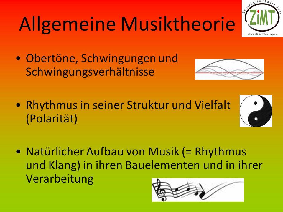 Allgemeine Musiktheorie Obertöne, Schwingungen und Schwingungsverhältnisse Rhythmus in seiner Struktur und Vielfalt (Polarität) Natürlicher Aufbau von Musik (= Rhythmus und Klang) in ihren Bauelementen und in ihrer Verarbeitung