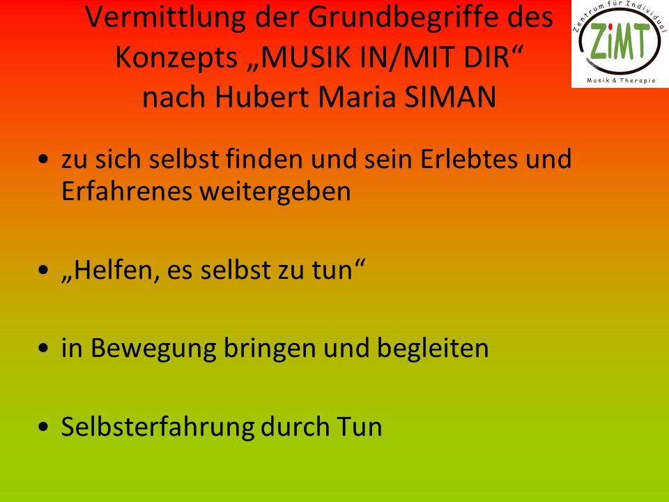 Vermittlung der Grundbegriffe des Konzepts MUSIK IN/MIT DIR nach Hubert Maria SIMAN zu sich selbst finden und sein Erlebtes und Erfahrenes weitergeben