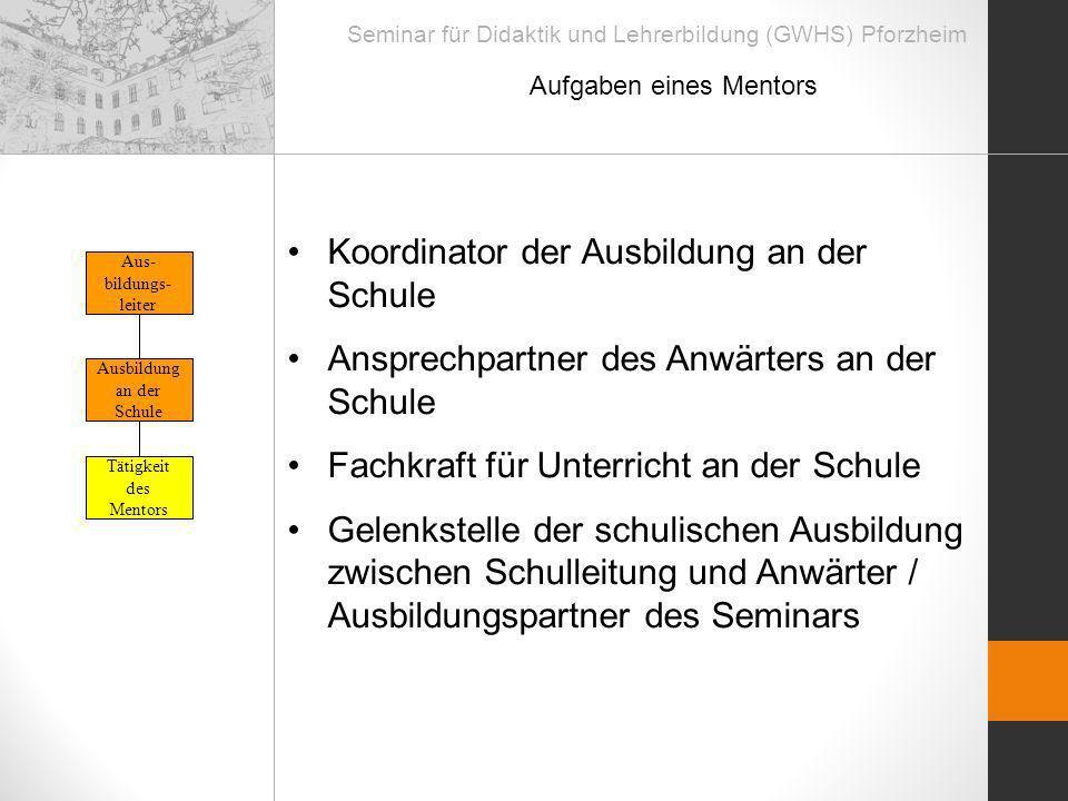 Seminar für Didaktik und Lehrerbildung (GWHS) Pforzheim Aufgaben eines Mentors Tätigkeit des Mentors Ausbildung an der Schule Aus- bildungs- leiter Ko