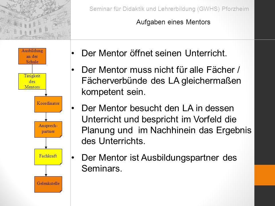 Seminar für Didaktik und Lehrerbildung (GWHS) Pforzheim Aufgaben eines Mentors Tätigkeit des Mentors Ausbildung an der Schule Ansprech- partner Fachkr