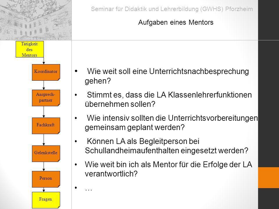 Seminar für Didaktik und Lehrerbildung (GWHS) Pforzheim Aufgaben eines Mentors Tätigkeit des Mentors Ansprech- partner Fachkraft Gelenkstelle Koordina
