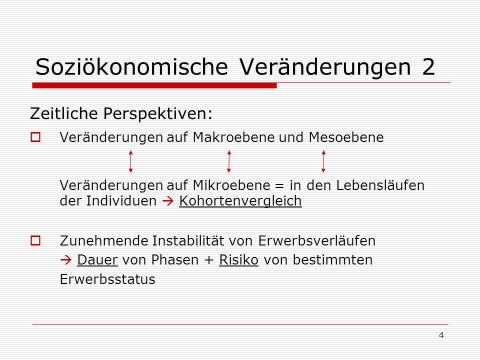 4 Soziökonomische Veränderungen 2 Zeitliche Perspektiven: Veränderungen auf Makroebene und Mesoebene Veränderungen auf Mikroebene = in den Lebensläufe