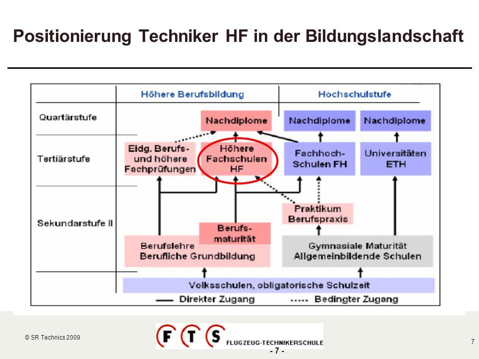© SR Technics 2002 7 © SR Technics 2009 - 7 - Positionierung Techniker HF in der Bildungslandschaft