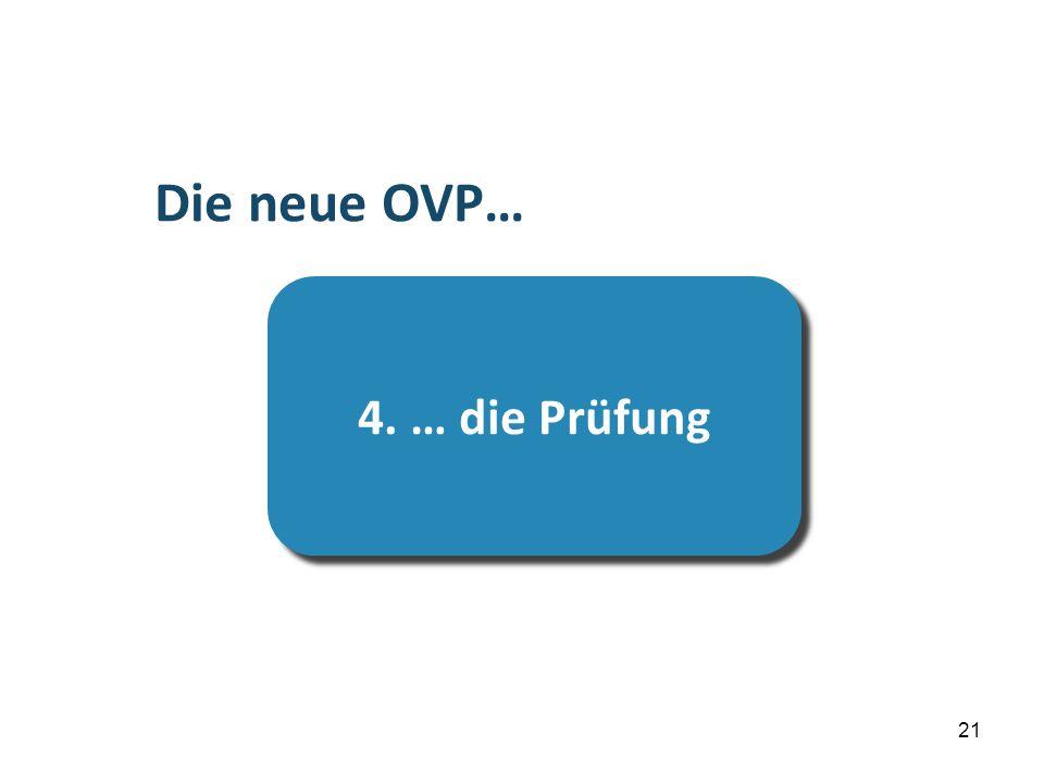 21 …die Prüfung 4. … die Prüfung Die neue OVP…