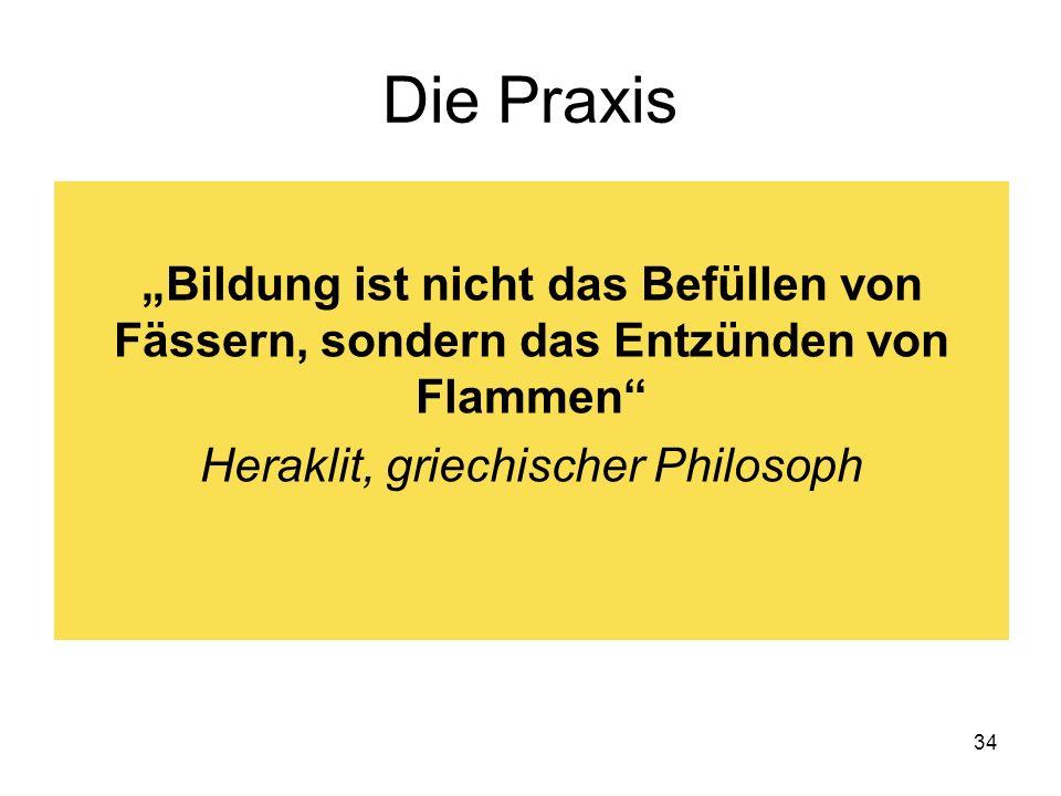 34 Die Praxis Bildung ist nicht das Befüllen von Fässern, sondern das Entzünden von Flammen Heraklit, griechischer Philosoph