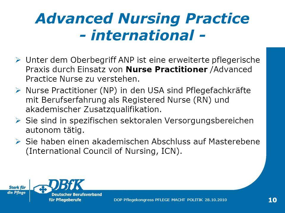10 DOP Pflegekongress PFLEGE MACHT POLITIK 28.10.2010 Advanced Nursing Practice - international - Unter dem Oberbegriff ANP ist eine erweiterte pflege