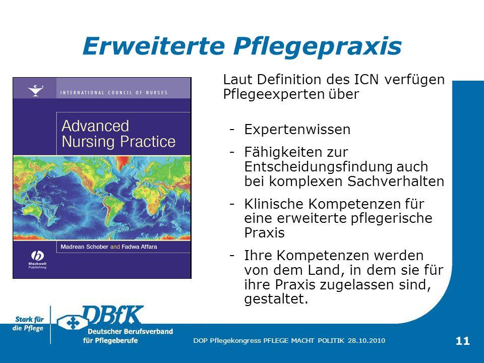 11 DOP Pflegekongress PFLEGE MACHT POLITIK 28.10.2010 Erweiterte Pflegepraxis Laut Definition des ICN verfügen Pflegeexperten über -Expertenwissen -Fä