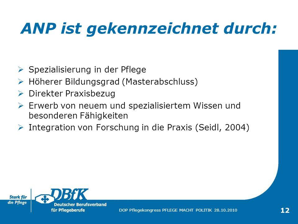 12 DOP Pflegekongress PFLEGE MACHT POLITIK 28.10.2010 ANP ist gekennzeichnet durch: Spezialisierung in der Pflege Höherer Bildungsgrad (Masterabschlus