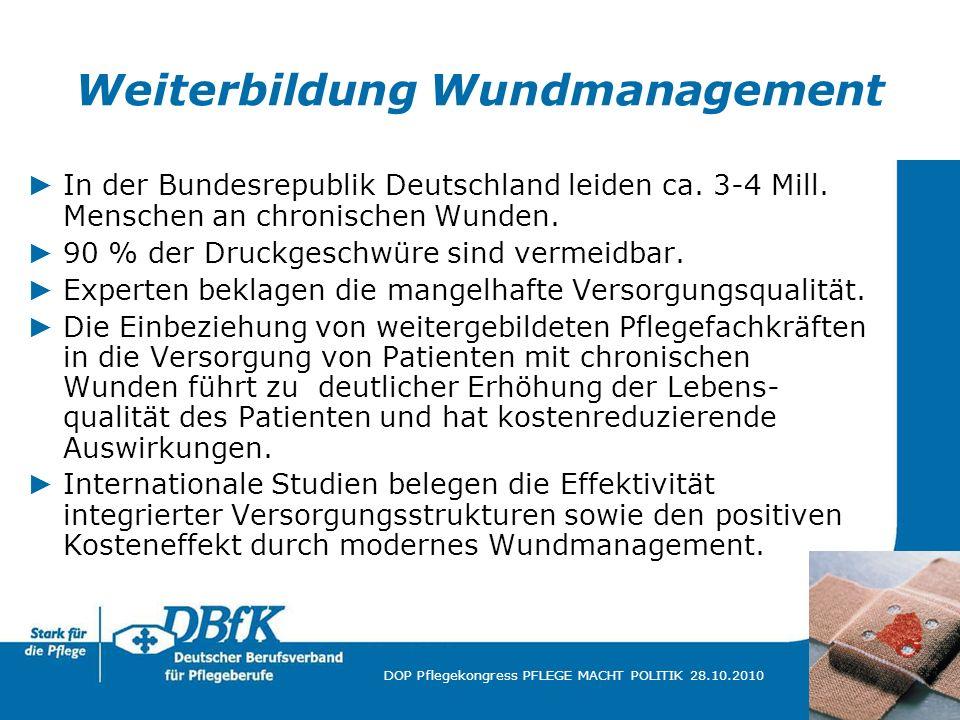 18 DOP Pflegekongress PFLEGE MACHT POLITIK 28.10.2010 Weiterbildung Wundmanagement In der Bundesrepublik Deutschland leiden ca. 3-4 Mill. Menschen an