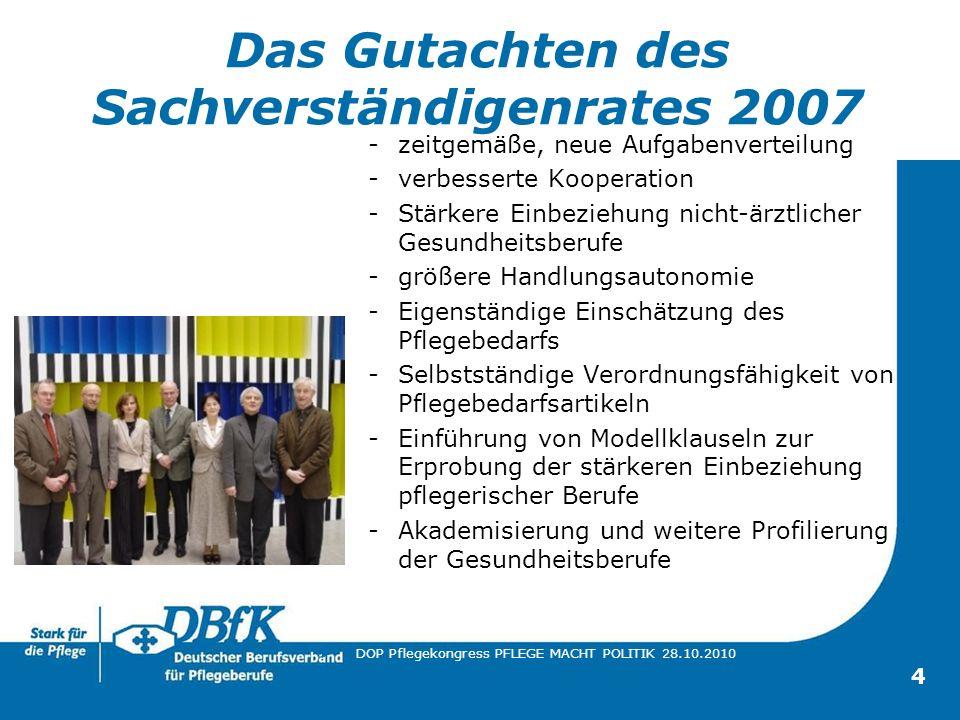 4 Das Gutachten des Sachverständigenrates 2007 -zeitgemäße, neue Aufgabenverteilung -verbesserte Kooperation -Stärkere Einbeziehung nicht-ärztlicher G