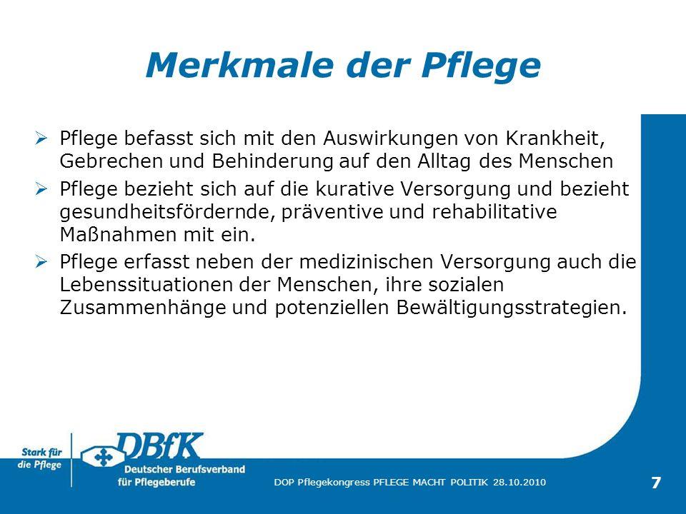 18 DOP Pflegekongress PFLEGE MACHT POLITIK 28.10.2010 Weiterbildung Wundmanagement In der Bundesrepublik Deutschland leiden ca.