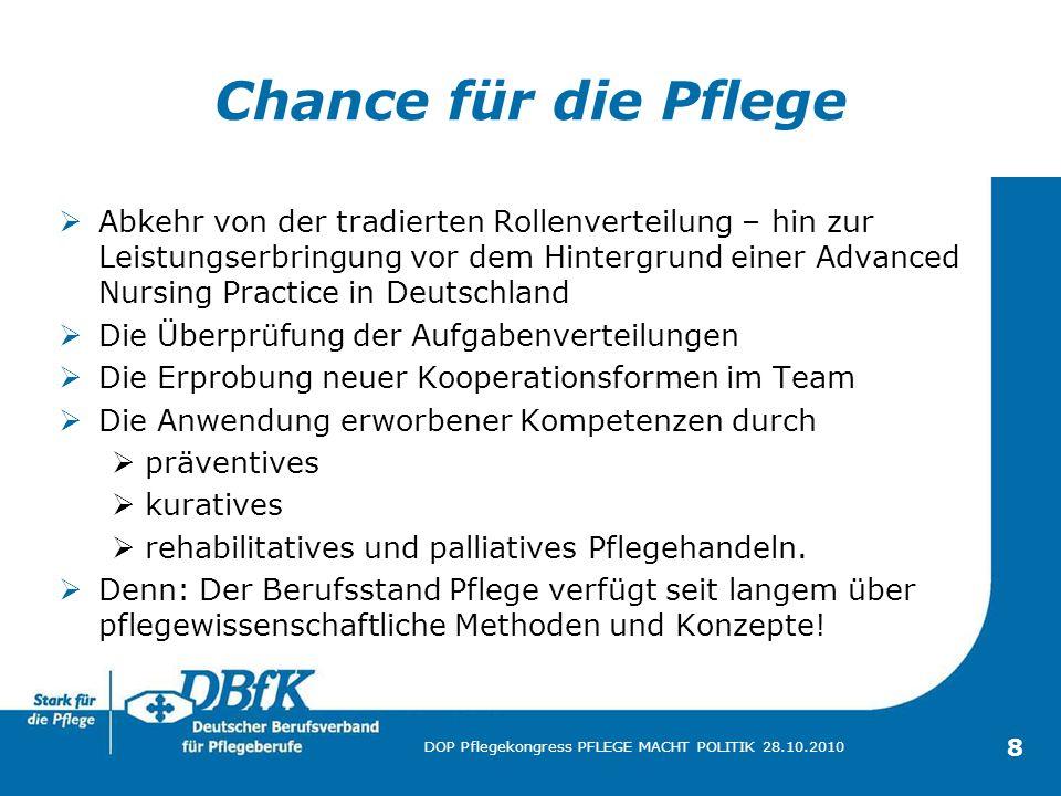 19 DOP Pflegekongress PFLEGE MACHT POLITIK 28.10.2010 Fazit Leitgedanke ist die Sicherung und Verbesserung der Versorgung der Menschen.