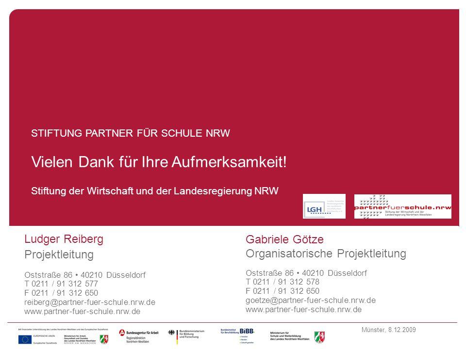 Münster, 8.12.2009 Fragen Stiftung der Wirtschaft und der Landesregierung NRW STIFTUNG PARTNER FÜR SCHULE NRW Vielen Dank für Ihre Aufmerksamkeit! Lud