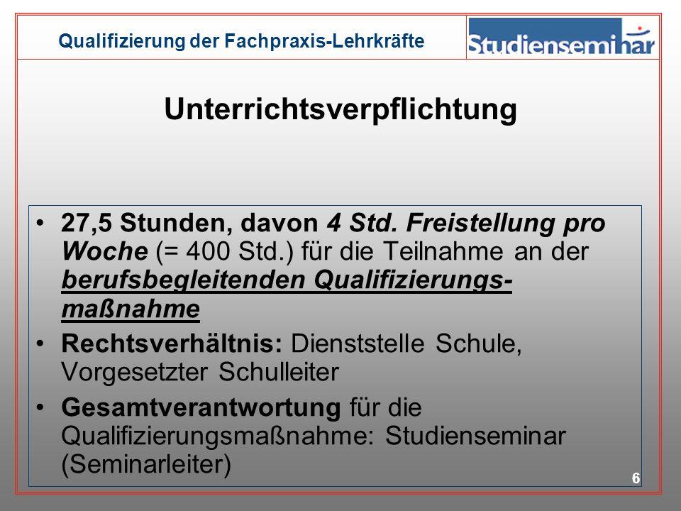 Qualifizierung der Fachpraxis-Lehrkräfte 5 Struktur der Ausbildung Einführungsphase Sept. 2006 Feb. 2007 wöchentlich 8 Stunden (4 SPS/4 FS) Orientieru
