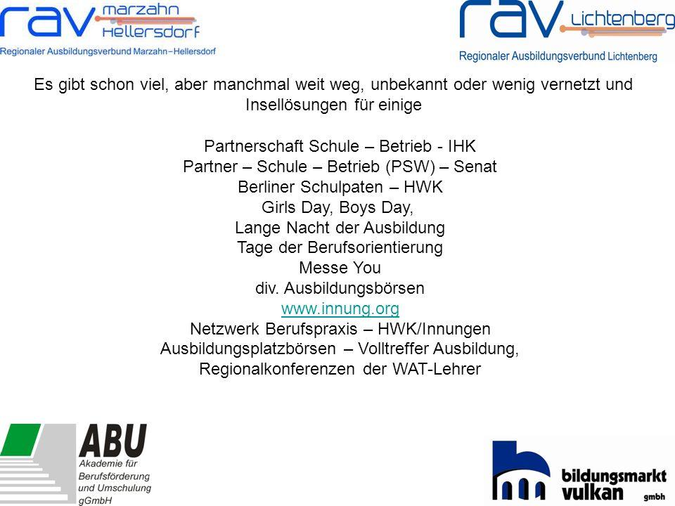 -Zusammenarbeit mit beruflichen Schulen -Schülerlabore an Hochschulen -Lernorte der Netzwerke für Ausbildung und Berufspraxis -Betriebsbesichtigungen