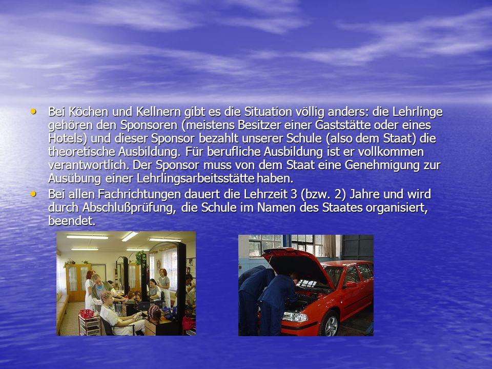 Kurz über die Ausbildung der Lehrlinge an unserer Berufsschule Die Ausbildung an den Berufsschulen in Tschechien besteht aus 3 Teilen : Allgemeine theoretische Ausbildung, theoretische Fachausbildung und berufliche Ausbildung.