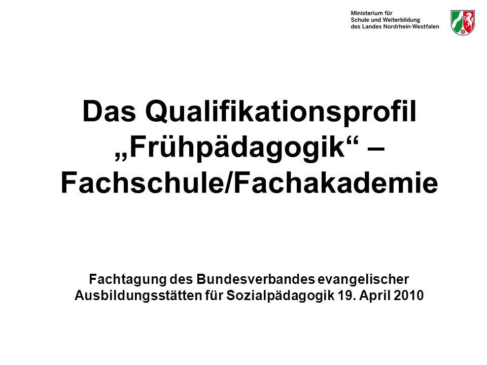 Das Qualifikationsprofil Frühpädagogik – Fachschule/Fachakademie Fachtagung des Bundesverbandes evangelischer Ausbildungsstätten für Sozialpädagogik 1