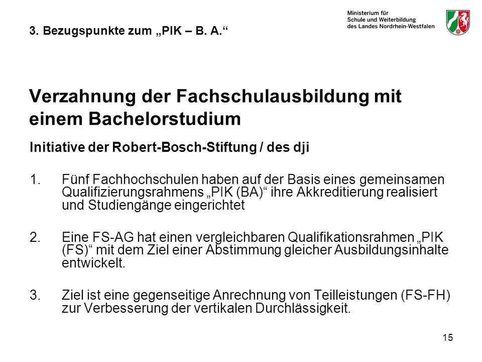 15 3. Bezugspunkte zum PIK – B. A. Verzahnung der Fachschulausbildung mit einem Bachelorstudium Initiative der Robert-Bosch-Stiftung / des dji 1.Fünf