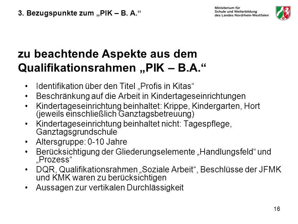 16 3. Bezugspunkte zum PIK – B. A. zu beachtende Aspekte aus dem Qualifikationsrahmen PIK – B.A. Identifikation über den Titel Profis in Kitas Beschrä
