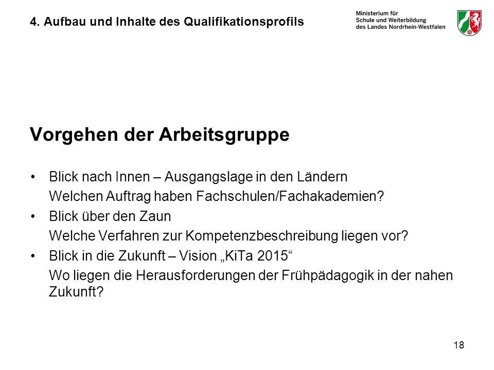 18 4. Aufbau und Inhalte des Qualifikationsprofils Vorgehen der Arbeitsgruppe Blick nach Innen – Ausgangslage in den Ländern Welchen Auftrag haben Fac