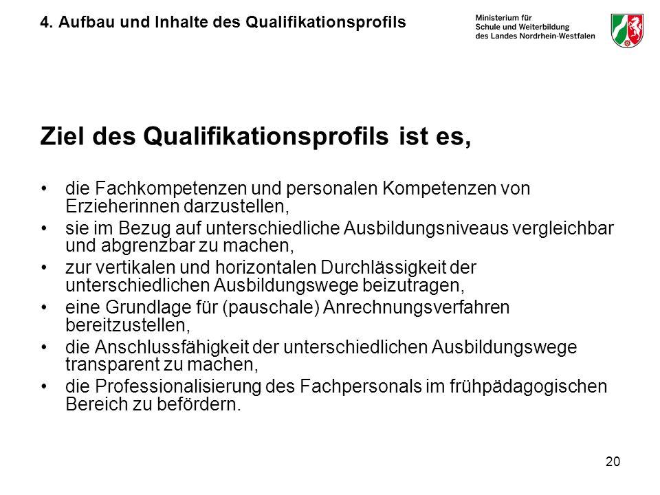 20 4. Aufbau und Inhalte des Qualifikationsprofils Ziel des Qualifikationsprofils ist es, die Fachkompetenzen und personalen Kompetenzen von Erzieheri